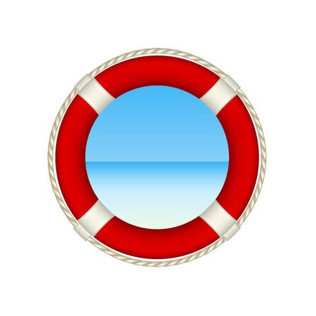 life preserver: Red life buoy as beach concept
