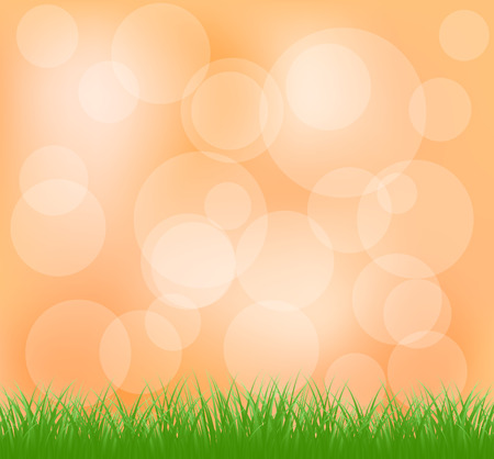 intensity: Natural green grass and orange background