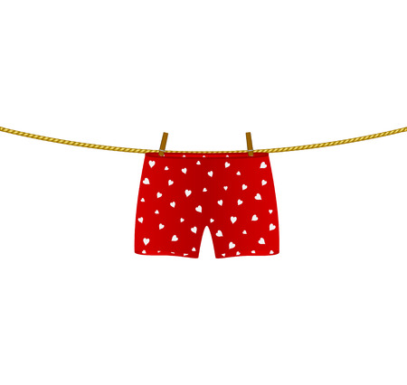 boxer shorts: Boxer shorts with white hearts hanging on rope