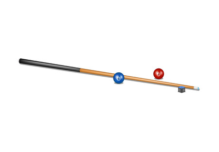 pool cue: Billiard cue, chalk block and billiard balls