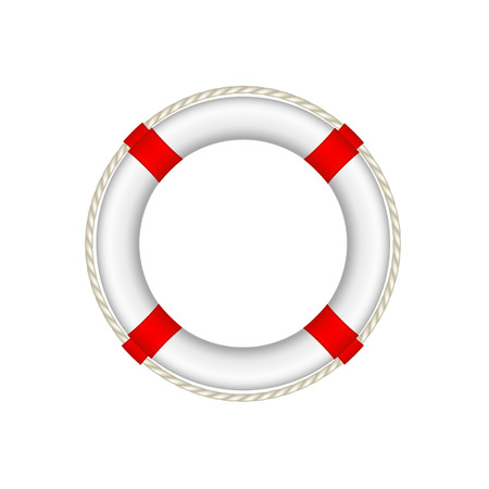 life preserver: White life buoy with rope around