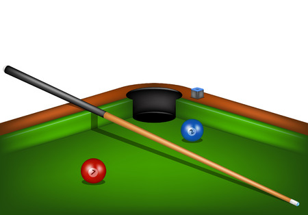 pool cue: Billiard table with billiard cue, chalk and billiard balls