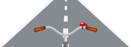 handlebar: Bicycle handlebar and road Illustration