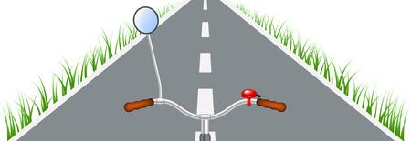 handlebar: Bicycle handlebar, road and grass Illustration