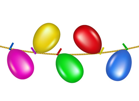 clench: Coloured clothespins on rope holding balloons  Illustration