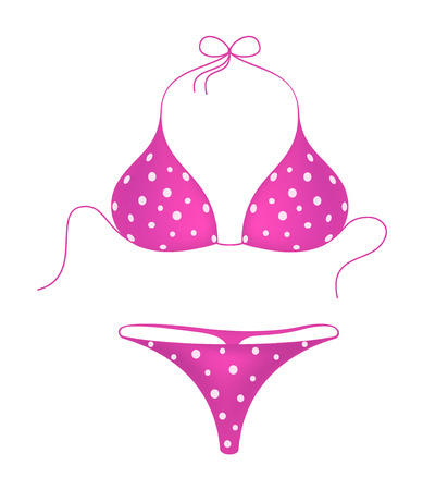 Pink bikini suit with white dots