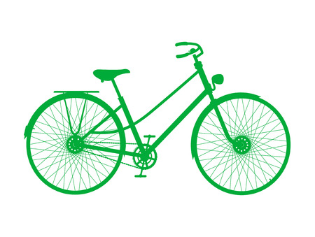 pedaling: Silhouette of vintage bicycle in green design