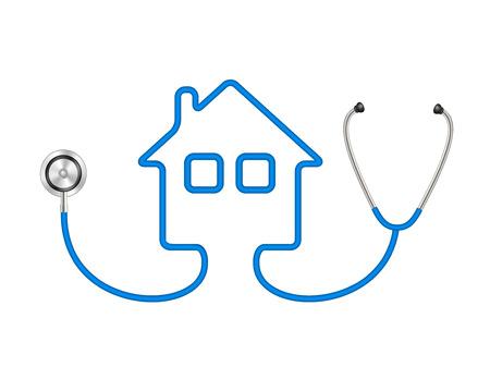 Stetoskop w kształcie domu Ilustracje wektorowe