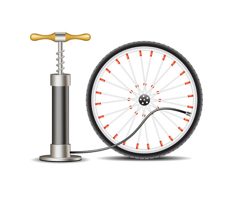 velocipede: Air pump with bicycle wheel Illustration