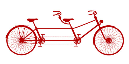 pedaling: Retro tandem bicycle in red design