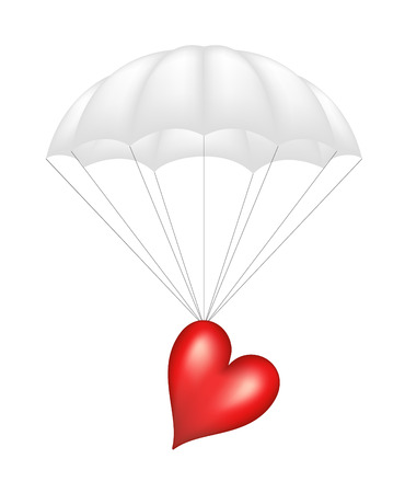 Heart at white parachute Vector
