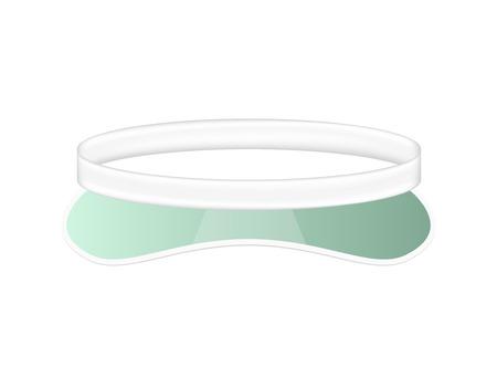 hat with visor: Sun visor hat in white and green design Illustration