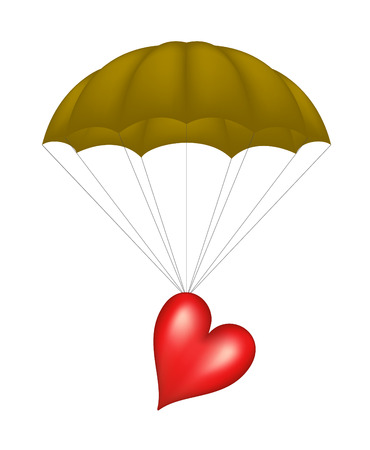 Heart at brown parachute Vector