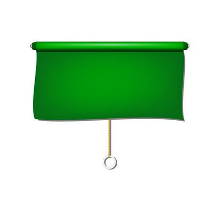 window shade: Vintage window sun blind cloth in green design Illustration