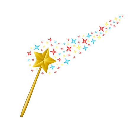 Magic wand with coloured stars