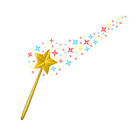 Magic wand with coloured stars
