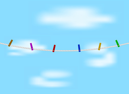 clench: Coloured clothespins on white rope and blue sky Illustration