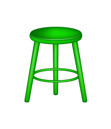wooden stool: Retro stool in green design Illustration