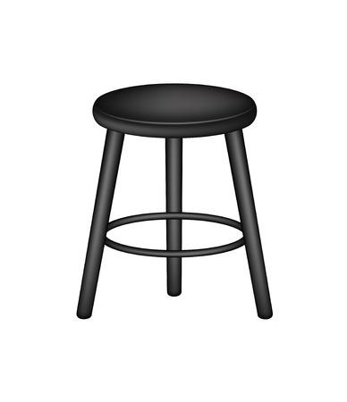 wooden stool: Retro stool in black design