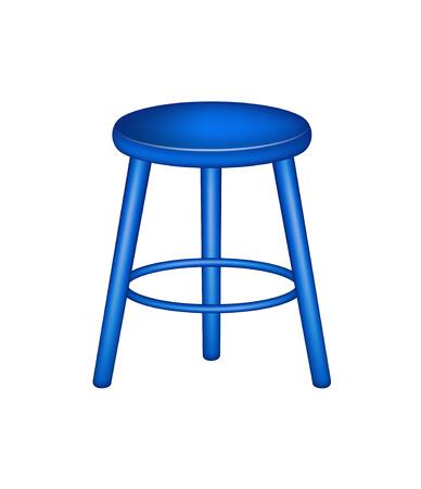 wooden stool: Retro stool in blue design