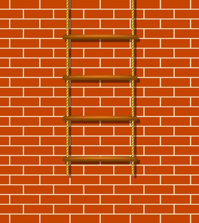 rope ladder: Escalera de cuerda de madera y pared de ladrillo Vectores