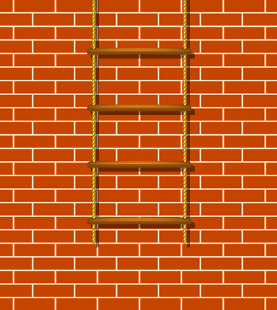 rope ladder: Wooden rope ladder and brick wall