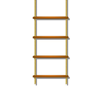 rope ladder: Escalera de cuerda de madera con sombra
