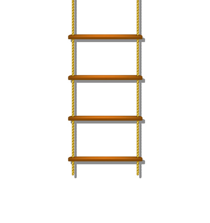 step ladder: Wooden rope ladder with shadow