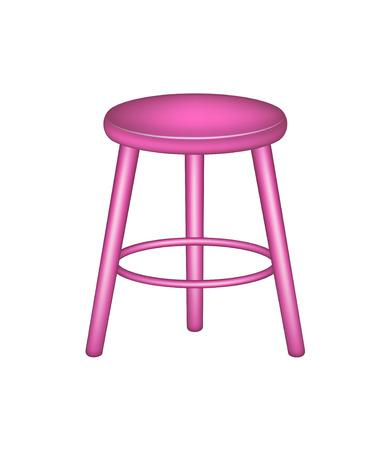 wooden stool: Retro stool in pink design Illustration