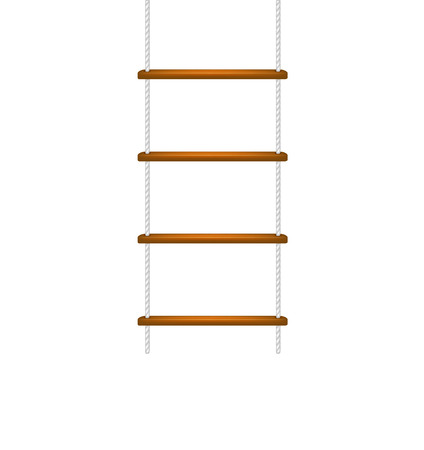 cautious: Wooden rope ladder with white rope
