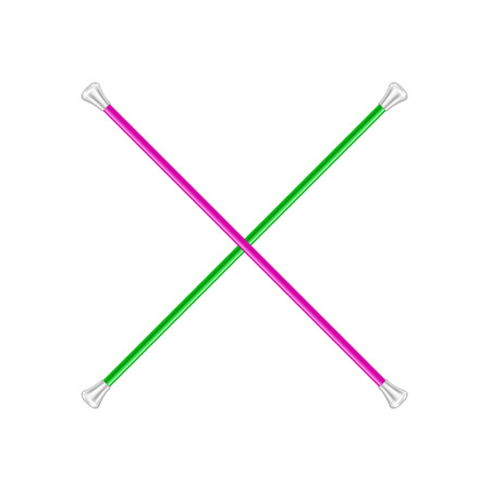 twirling: Two crossed twirling batons