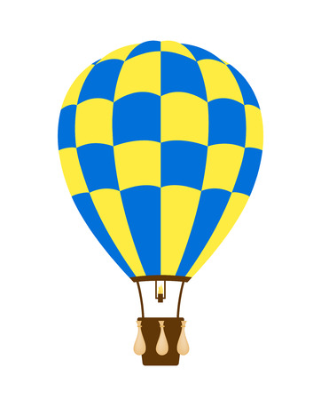 travel burner: Hot air balloon in blue and yellow design Illustration
