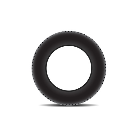 retreading: Car tire with shadow Illustration