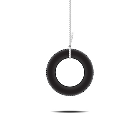 car tire: Car tire hanging on rope