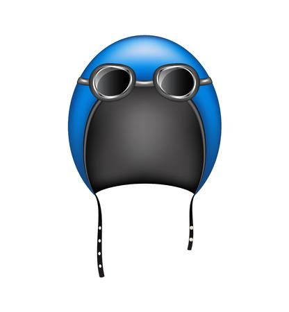 motorradhelm: Retro Motorrad Helm und Brille