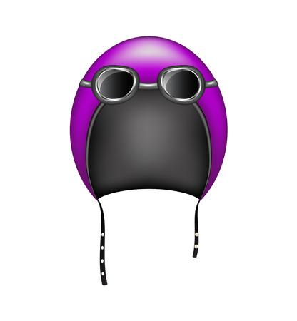 motorcycle helmet: Retro motorcycle helmet and goggles Illustration
