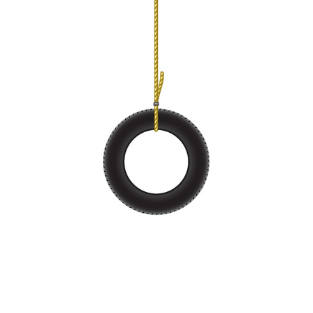 car tire: Car tire hanging on brown rope