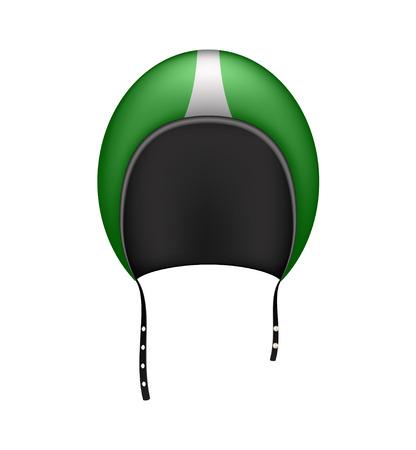 motorradhelm: Retro Motorrad-Helm in dunkelgr�n Design