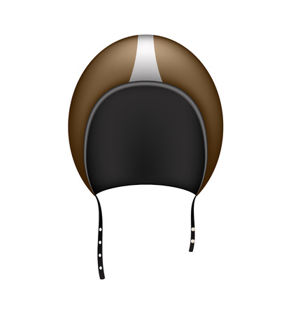 safeness: Retro motorcycle helmet in dark brown design Illustration