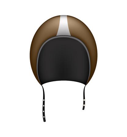 motorradhelm: Retro Motorrad-Helm in dunkelbraun Design Illustration