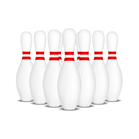 formation: Bowling pins with red stripes standing in formation