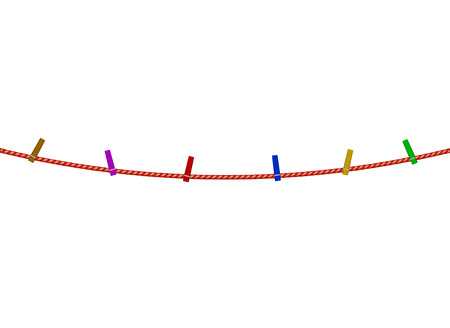 coloured: Coloured clothespins on red rope Illustration