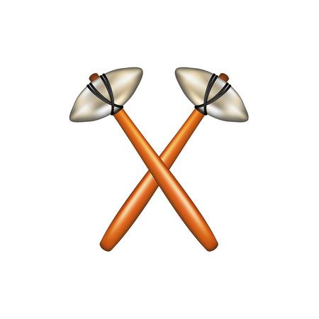 prehistoric man: Crossed hammers of prehistoric man