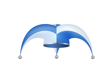 jester hat: Jester hat in white and blue design Illustration