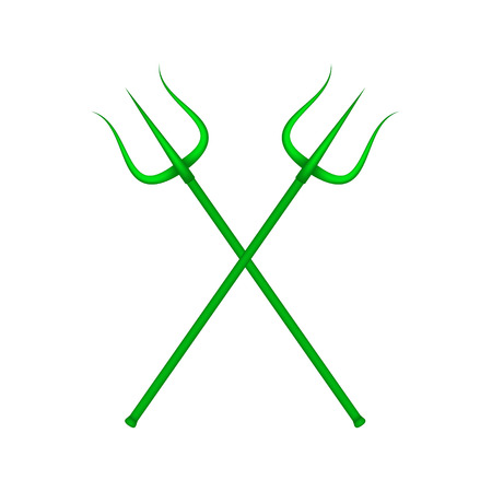 Two crossed tridents in green design Illustration