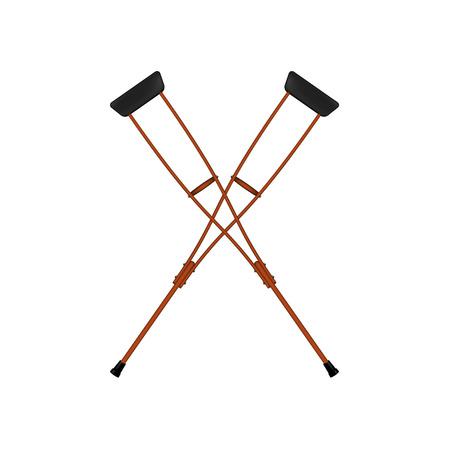 Two crossed retro crutches Illustration