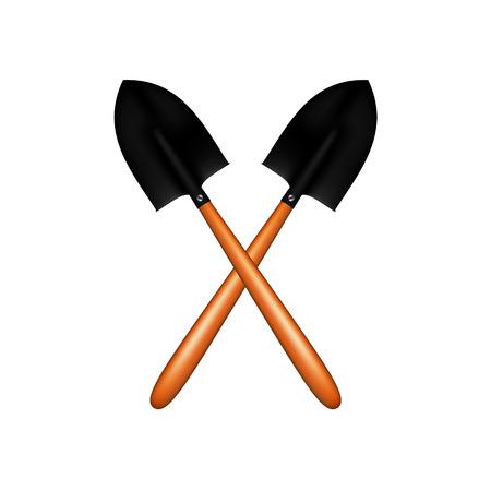 digging: Two crossed garden shovels
