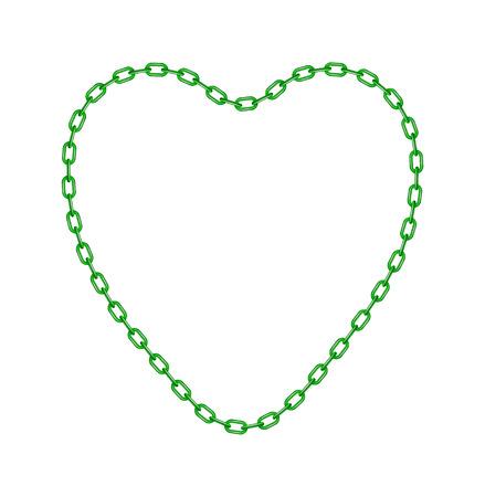 Green chain in shape of heart