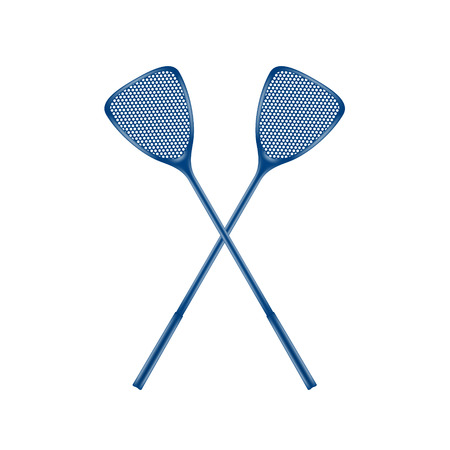gnat: Two crossed fly swatters in blue design