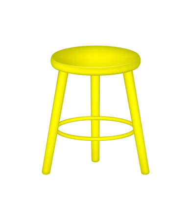 wooden stool: Retro stool in yellow design